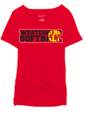 Westerners Softball Womens Boxercraft Twisted Tee in Red - choice of design