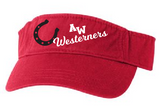 Westerners Visor in your choice of Black or Red - embroidered!
