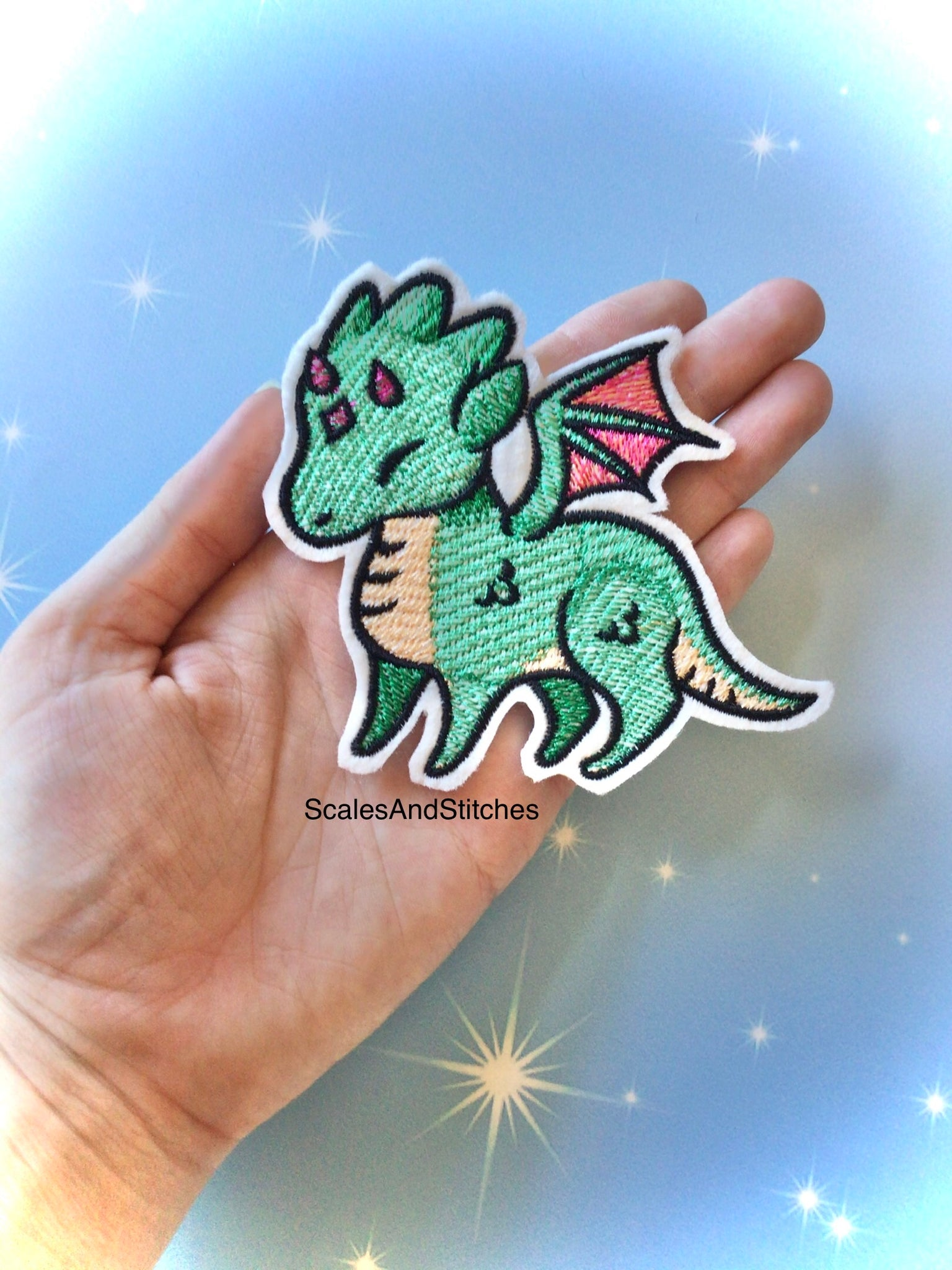 Embroidered Iron On Patch ~ Dragon
