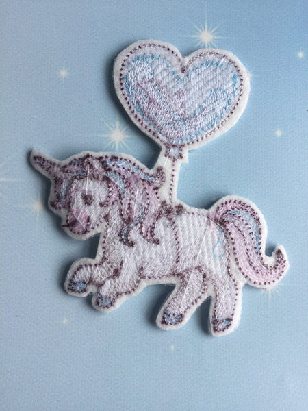 Embroidered Iron On Patch ~ Ballon Unicorn