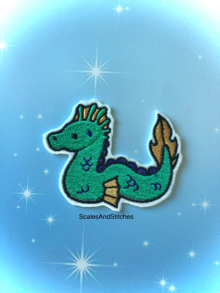 Embroidered Iron On Patch ~ Sea Monster