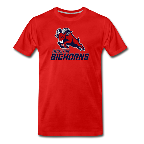 HOUSTON BIGHORNS MEN'S PREMIUM TEE - red