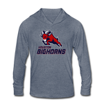 HOUSTON BIGHORNS Unisex Tri-Blend Hoodie Shirt - heather blue