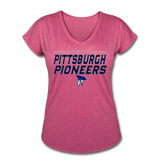 PITTSBURGH PIONEERS Women's Tri-Blend V-Neck T-Shirt - heather raspberry