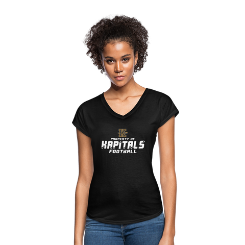KANSAS CITY KAPITALS WOMEN'S TRI-BLEND V-NECK TEE - black