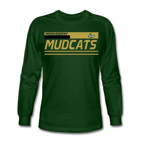 MISSISSIPPI MUDCATS MEN'S LONG SLEEVE TEE - forest green