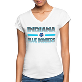 INDIANA BLUE BOMBERS WOMEN'S TRI-BLEND V-NECK TEE - white