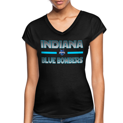 INDIANA BLUE BOMBERS WOMEN'S TRI-BLEND V-NECK TEE - black