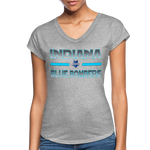 INDIANA BLUE BOMBERS WOMEN'S TRI-BLEND V-NECK TEE - heather gray