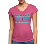 INDIANA BLUE BOMBERS WOMEN'S TRI-BLEND V-NECK TEE - heather raspberry
