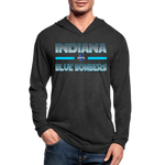 INDIANA BLUE BOMBERS UNISEX TRI-BLEND LONG SLEEVE - heather black