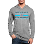 INDIANA BLUE BOMBERS UNISEX TRI-BLEND LONG SLEEVE - heather gray