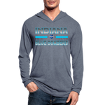 INDIANA BLUE BOMBERS UNISEX TRI-BLEND LONG SLEEVE - heather blue