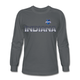 INDIANA BLUE BOMBERS MEN'S PREMIUM LONG SLEEVE TEE - charcoal