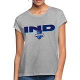 INDIANA BLUE BOMBERS SPECIALITY WOMEN'S RELAXED TEE - heather gray