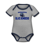 INDIANA BLUE BOMBERS ORGANIC SHORT SLEEVE BABY BODYSUIT - heather gray/navy