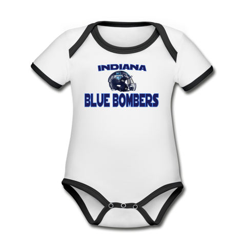 INDIANA BLUE BOMBERS ORGANIC SHORT SLEEVE BABY BODYSUIT - white/black