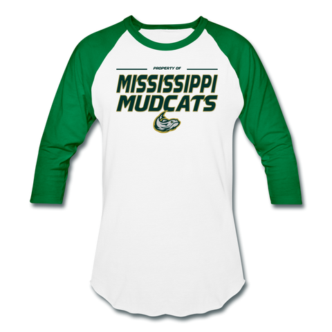 MISSISSIPPI MUDCATS MEN'S BASEBALL TEE - white/kelly green