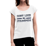 ST LOUIS STAMPEDE WOMEN'S CUFF ROLL TEE - white