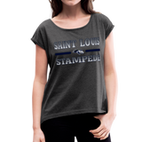 ST LOUIS STAMPEDE WOMEN'S CUFF ROLL TEE - heather black