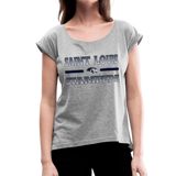 ST LOUIS STAMPEDE WOMEN'S CUFF ROLL TEE - heather gray