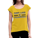 ST LOUIS STAMPEDE WOMEN'S CUFF ROLL TEE - mustard yellow