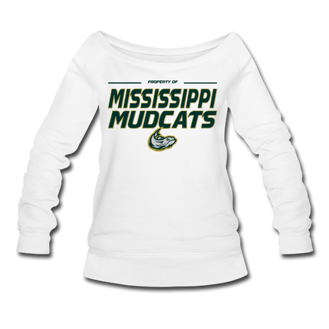 MISSISSIPPI MUDCATS WOMEN'S WIDENECK SWEATSHIRT - white