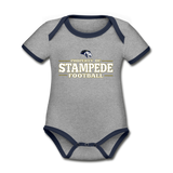 ST LOUIS STAMPEDE ORGANIC CONTRAST SHORT SLEEVE BABY BODYSUIT - heather gray/navy