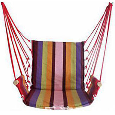 Hammock Chair Outdoor Flexible Folding Canvas leather for 1 person Beach Camping Team Sports Stripes - Blue Pink Rainbow 150*130*95 cm