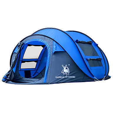 HUILINGYANG 4 person Pop up tent Outdoor Waterproof Windproof Foldable Single Layered Automatic Dome Camping Tent 2000-3000 mm for Hiking Camping Fiberglass Oxford 290*200*130 cm