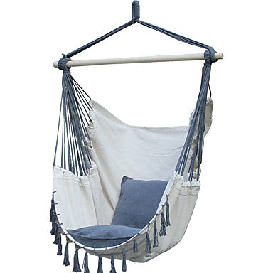 Hammock Chair Outdoor Lightweight Breathability Folding Canvas leather for 1 person Tassel - Gray