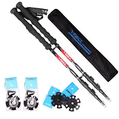 3 Sections Trekking Poles 135cm (53 Inches) Fastness Antiskid Adjustable Length Tungsten Carbon Fiber Hiking Climbing Snowsports