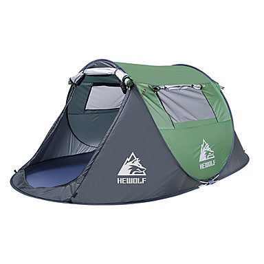 Hewolf 3 person Family Tent Outdoor Windproof Rain Waterproof Wearable Single Layered Poled Camping Tent 1500-2000 mm for Camping / Hiking / Caving Picnic Glass fiber Oxford Cloth 280*200*120 cm