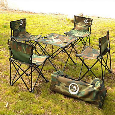 Camping Folding Table with Chairs Portable Retractable Foldable Oxford Cloth with Carabiners and Tree Straps 4 Chairs 1 Table for 4 person Camping Autumn / Fall Spring Green
