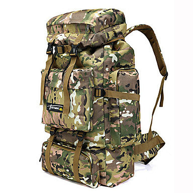 Hiking Backpack Rucksack Military Tactical Backpack 70 L - Rain Waterproof 3D Pad Breathability Wearable Outdoor Hunting Fishing Hiking Nylon Grey Camouflage Khaki