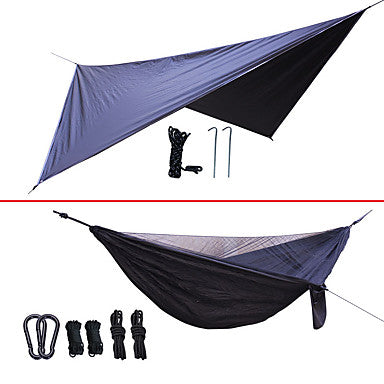 Camping Hammock with Mosquito Net Hammock Rain Fly Double Hammock Outdoor Lightweight Quick Dry Ultraviolet Resistant Nylon for 2 person Fishing Camping Black Yellow Dark Green / Anti-Mosquito