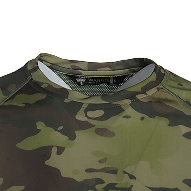Men's Camouflage Hunting T-shirt Outdoor Waterproof Windproof Breathable Quick Dry Spring Summer Fall Top Hunting Leisure Sports