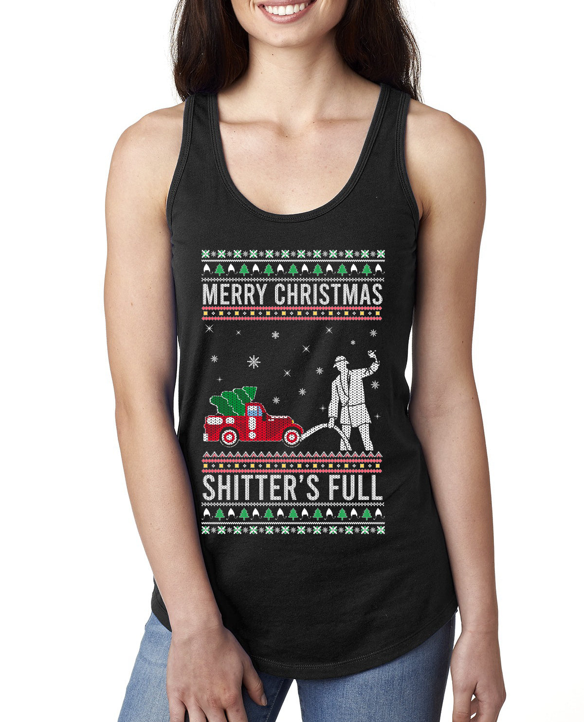 Merry Christmas Shitter's Full Christmas Vacation Ugly Christmas Sweater Ladies Racerback Tank Top