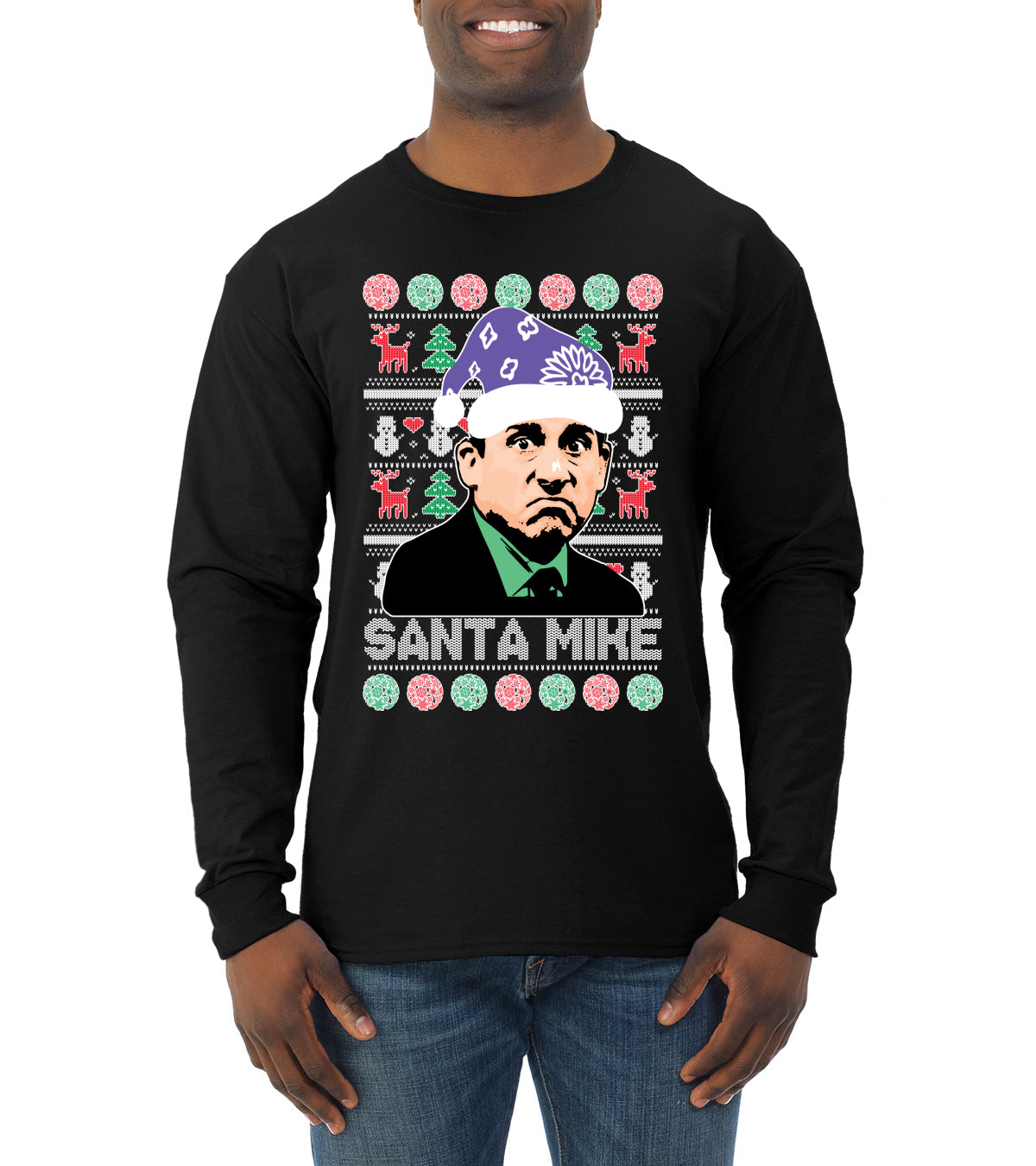 Santa Mike Michael Scott The Office Ugly Christmas Sweater Mens Long Sleeve Shirt