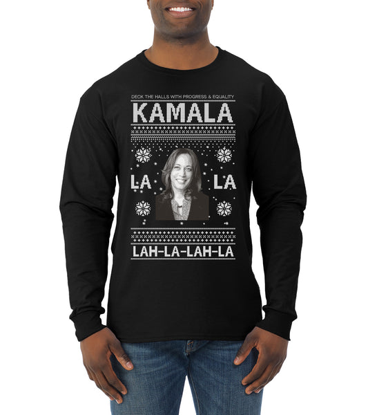 Kamala La La Lah-La-Lah-La Harris 2020 Ugly Christmas Sweater Mens Long Sleeve Shirt
