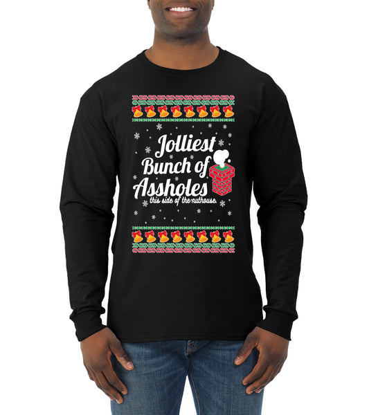 Jolliest Bunch of Assholes Xmas Movie Ugly Christmas Sweater Mens Long Sleeve Shirt