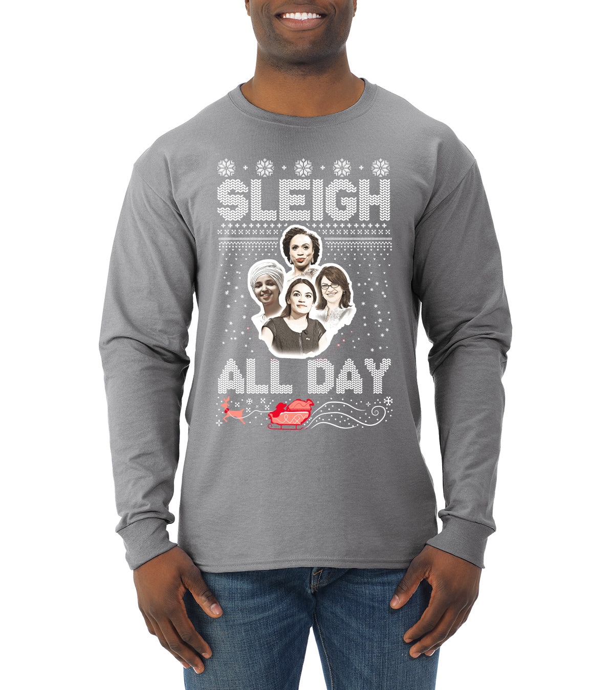 AOC The Squad Congresswomen Sleigh All Day Xmas Ugly Christmas Sweater Mens Long Sleeve Shirt
