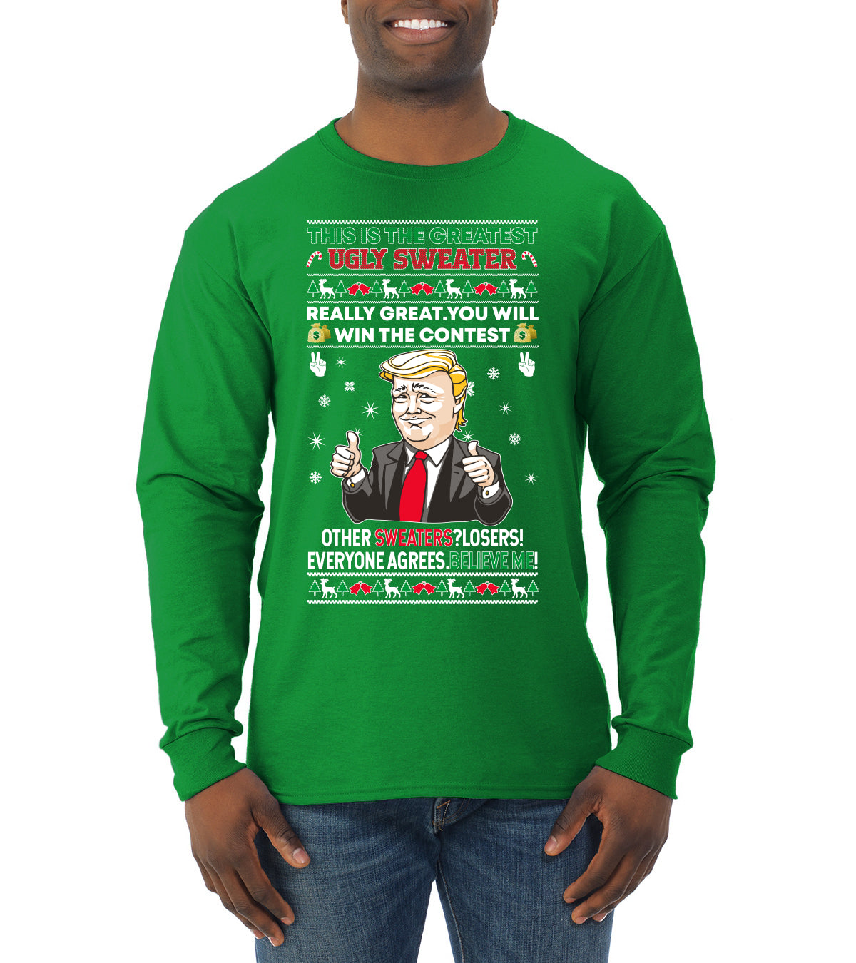 Trump This is the Greatest Ugly Christmas Sweater Mens Long Sleeve Shirt