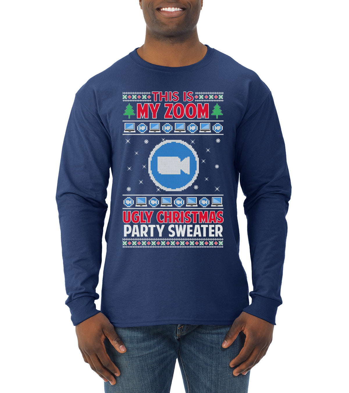 This Is My Zoom Ugly Christmas Party Sweater Ugly Christmas Sweater Mens Long Sleeve Shirt