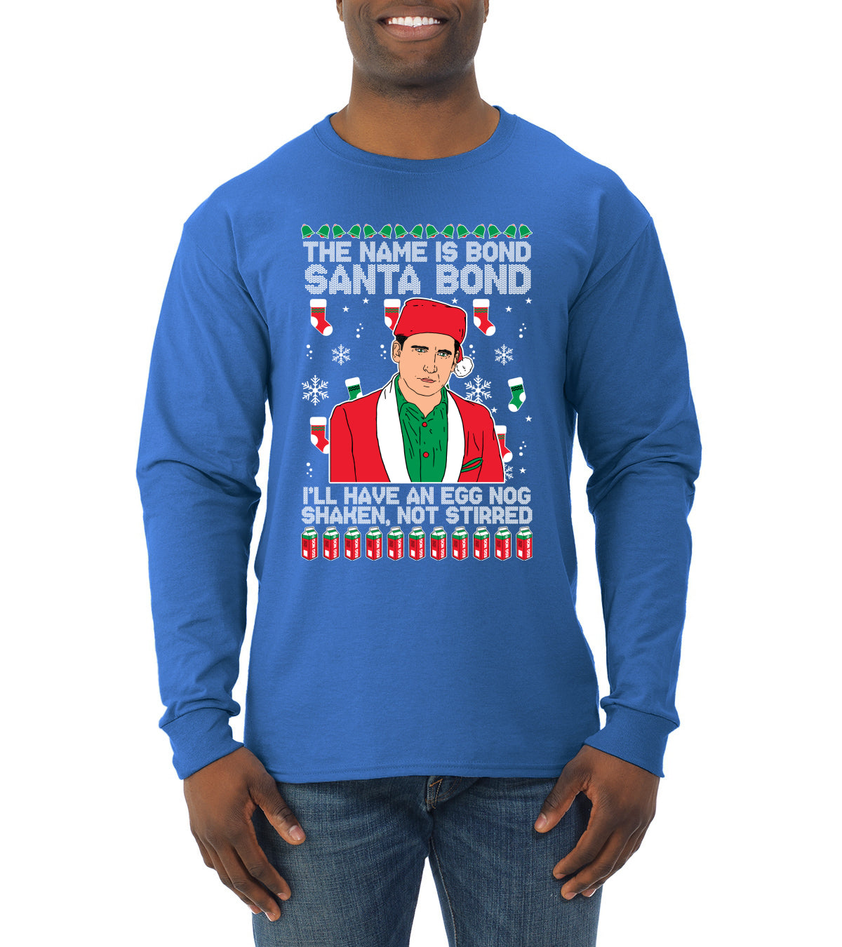 Michael Scott The Name is Bond Santa Bond Ugly Christmas Sweater Mens Long Sleeve Shirt
