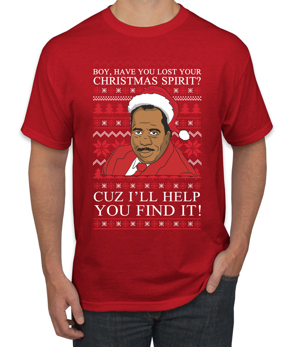 Christmas Spirit I'll Help You Find It Stanley Hudson Ugly Christmas Sweater Men's Graphic T-Shirt