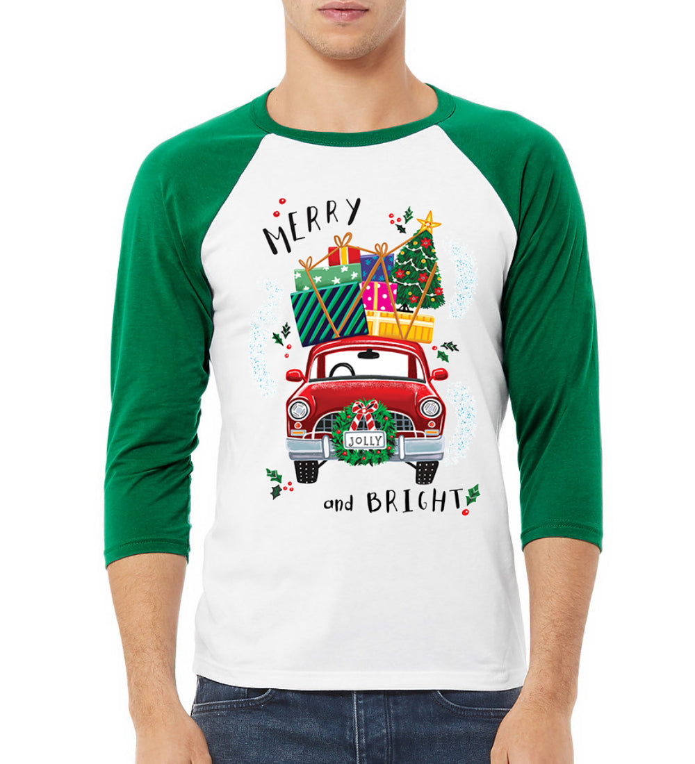 Merry and Bright Red Car Christmas 3/4 Sleeve Raglan Unisex Baseball Tee