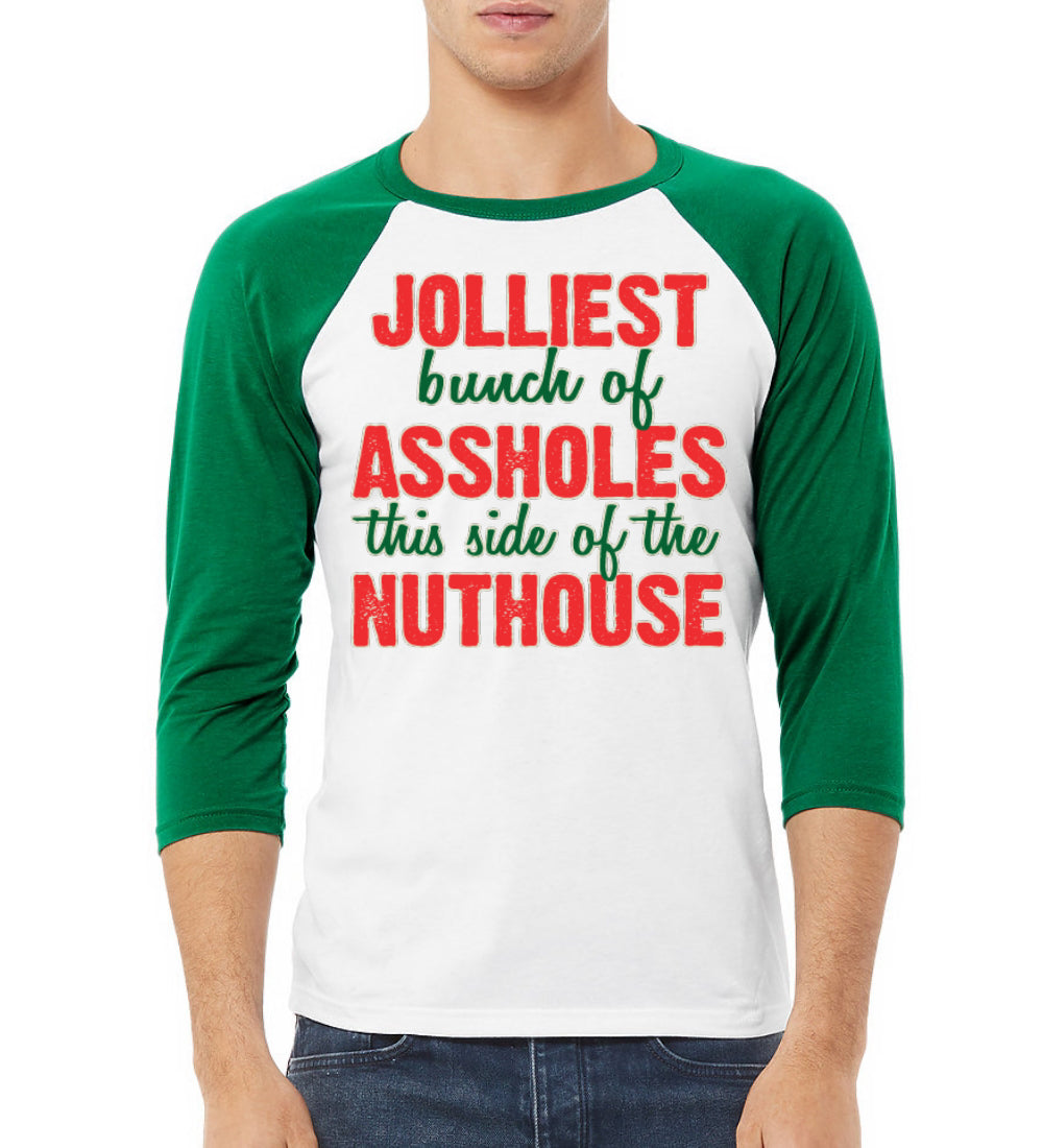 Jolliest Bunch of Assholes Nuthouse Christmas Vacation Christmas 3/4 Sleeve Raglan Unisex Baseball Tee