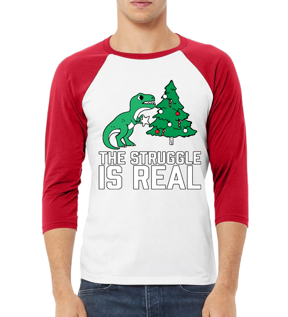 Christmas Trex The Struggle is Real Ugly Christmas Sweater Christmas 3/4 Sleeve Raglan Unisex Baseball Tee