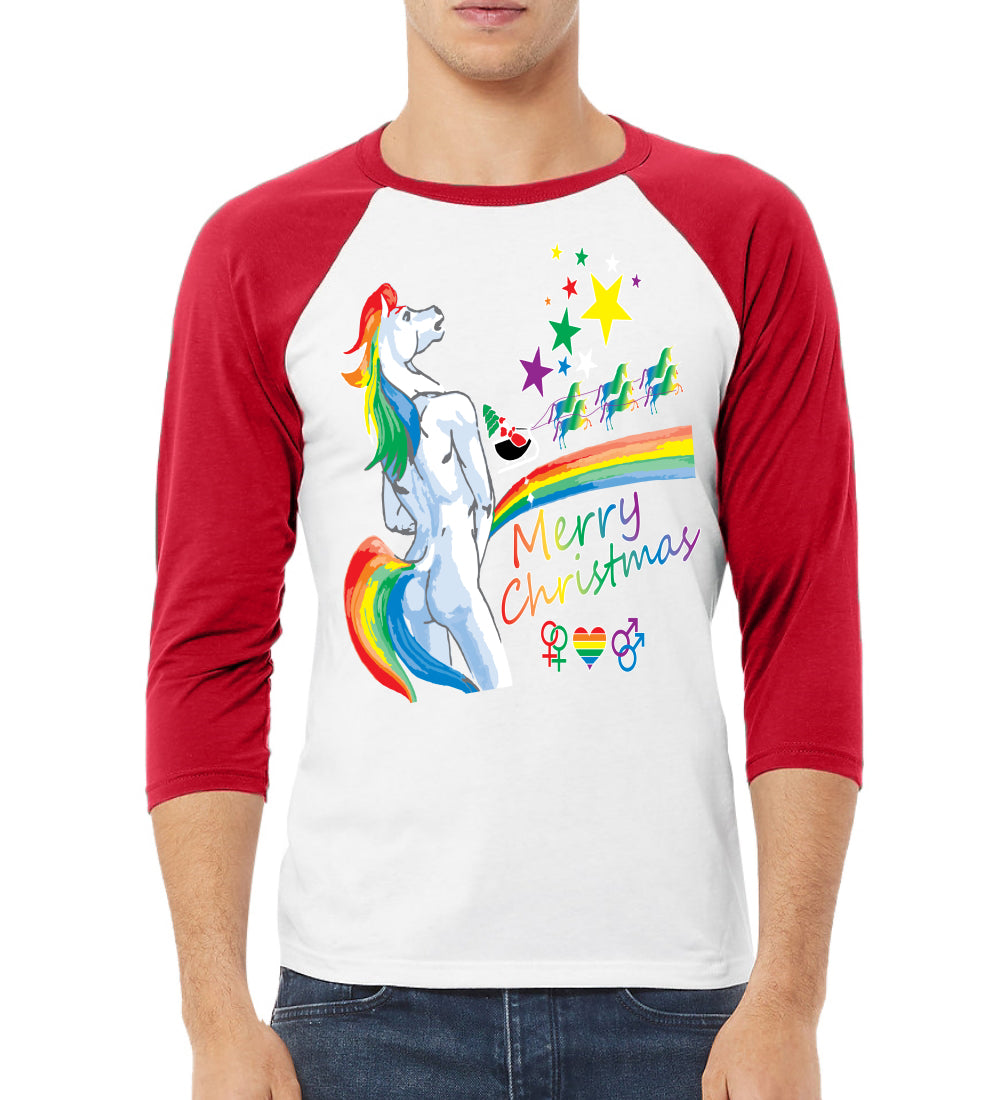 Unicorn Pissing Rainbow Christmas 3/4 Sleeve Raglan Unisex Baseball Tee